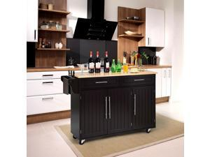 Kitchen Island Trolley Wood Top Rolling Storage Cabinet Cart with Knife Block