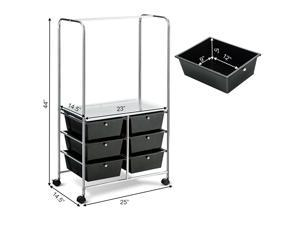 6 Drawer Rolling Storage Drawer Cart with Hanging Bar for Office School Home