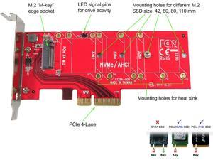 PEXM2-110 M.2 NGFF PCIe SSD to PCI Express x4 Host Adapter Card - Support 110mm M.2 SSD - Support M.2 NGFF PCIe (NVMe or AHCI) Type 22110, 2280, 2260, 2242
