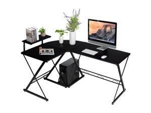L-Shaped Desk Reversible Corner Computer Desk with Movable Shelf and CPU Stand Black