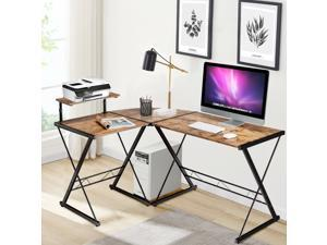 L-Shaped Desk Reversible Corner Computer Desk with Movable Shelf and CPU Stand Rustic Brown