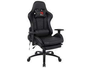 Massage Racing Chair with Retractable Footrest Gaming Chair - Computer Office Adjustable Lumbar Cushion Headrest Swivel Rocking Function Desk Chair 5 Colors