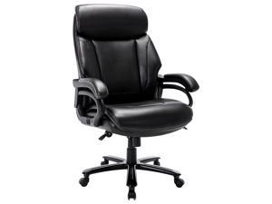 High Back Big & Tall 400lb Bonded Leather Ergonomic Office Chair Executive Desk Computer Swivel Chair - Heavy Duty Metal Base, Thick Padded Armrest and Headrest for Home&Office