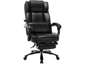 High Back Big and Tall Reclining Office Chair with Footrest -  Executive Computer Desk Chair Angle Recline Locking System with Thick Padded Armrest and Headrest for Home&Office
