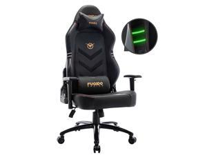 Fuqido Gaming Chair, Big & Tall Computer Chair Fluorescent Racing Style Desk Office Chair Wide Seat Height Adjustment Swivel Task Chair with Headrest and Lumbar Support(Black/Grey/Red/Blue/White/Pink)
