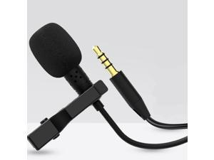 Lavalier Lapel Microphone Tie-Clip Pocket Dual Microphone Hand-Free Wired Mini Condenser Karaoke Mic 3.5mm