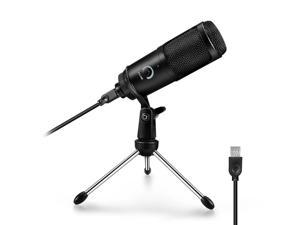 USB Condenser Cardioid Polar Microphone Computer Recording Studio Mic for MAC Windows Laptop PC for YouTube Tiktok Live Streaming Broadcast - Black