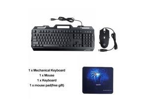 3-In-1 USB Wired 3200DPI Mouse Colorful Headset Rainbow Backlight Mechanical Keyboard Set with Mouse Pad for Desktop Computer Notebook 1 key