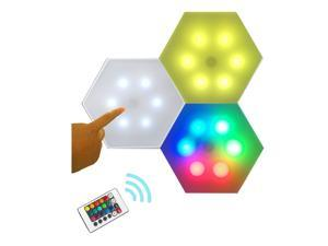 QLEE 3X Remote Control Led Hexagon Wall Light Wall-Mounted Panel Smart DIY Geometric Modular Light Touch Control RGB Light In Home Office Hotel Bar Festival Children'S Day Christmas Birthday Gift