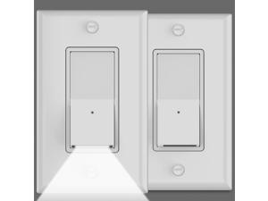 2Pack-SOZULAMP Illuminated Light Switch-Easy Install,Auto On/Off GuideLight White Wall Light Switches with Night Lights,Single-Pole,15 Amp 120/277V,Decora Paddle Rocker AC Quiet Switch(Daylight LED)