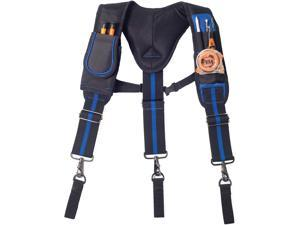Tool Belt Suspenders for Men Heavy Duty,3 Point Padded Suspenders Includes Tool Belt Loops, Phone Pouch, Pen Holder(Without Tools)