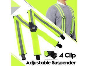 "Work Suspenders for Men Heavy Duty, Reflective Safety Suspenders Tool Belt Suspenders with X-Back 2"" Wide Adjustable , Hi Viz Reflective"