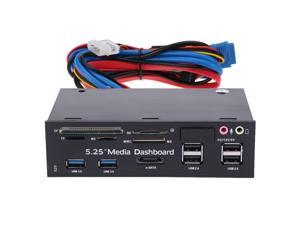 "5.25""All-in-One Media Dashboard Multi-Function Front Panel Card Reader USB 2.0 and USB 3.0 ESATA"