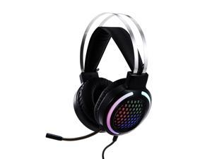 Wired Headset Gaming Headset Colorful RGB Light Headphone with 360° Noise Reduction Microphone 3.5mm+USB for PC Laptop Black