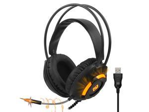 Ajazz AX120 - 7.1 Channel Stereo Gaming Headset Noise Cancelling Over Ear Headphones with Mic Bass Surround Soft Memory Earmuffs 50mm Drivers Black