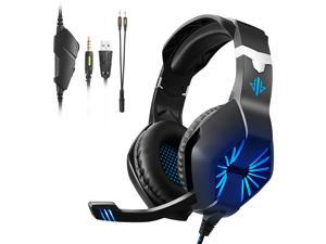 A1 Wired Gaming Headset E-sports Headset with 40mm Driver Unit Noise Reduction Microphone LED Light Ergonomic Gaming Headset