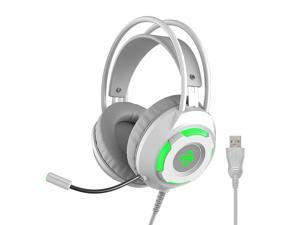 Ajazz AX120 - 7.1 Channel Stereo Gaming Headset Noise Cancelling Over Ear Headphones with Mic Bass Surround Soft Memory Earmuffs 50mm Drivers White