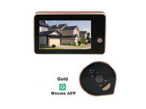 HD 1080P Peephole Door Camera Doorbell Digital Door Viewer 4.3-inch LCD Screen Night Vision Photo Shooting WiFi Connection Wecsee APP Control for Home Security