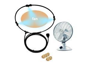Outdoor Misting Fan Kit For Water Misting Cooling System Misters Mister Fan Line and 5 Brass Mist Nozzles for Cooling Outdoor Patios (24 Inch + 9.84ft)