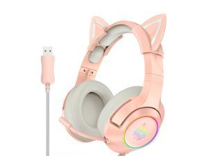 ONIKUMA K9 USB Wired Gaming Headset Virtual 7.1 Surround Sound Removable Cat Ears Headphones Noise Canceling E-Sports Earphone with Microphone RGB LED Light Volume Control Mute Mic for PC Laptop