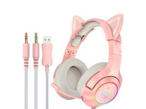 ONIKUMA K9 3.5mm Wired Gaming Headset Removable Cat Ears Headphones Noise Canceling E-Sports Earphone with Microphone RGB LED Light Volume Control Mute Mic for Desktop PC
