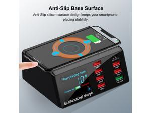 X9 100W 8 Ports USB Charger Hub Wireless Charger Base Quick Charge 3.0 Adapter PD Charging Station 10W Wireless Charging Pad with Digital LCD Display