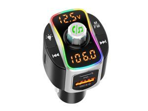 BC67 Bluetooth 5.0 Car FM Transmitter Handsfree Car Kit QC3.0+PD3.0 Car Charger MP3 Audio Player Support TF Card U Disk Music Playback Hands-free with Mic 7 Colors LED Backlit