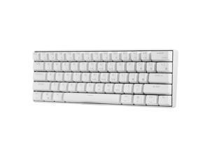 RK61 BT&Wired Dual Mode Keyboard Blue Backlight 61 Key Mini Mechanical Keyboard for Phone/Tablet White with Gateron Red Switches