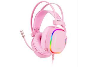 MORADI Electronic Sports Game Headsets Noise Cancelling Microphone 7.1 Virtual Surround Channel The Original Sound Quality Pink