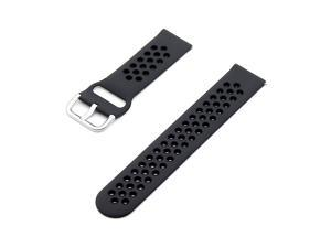 Replaceable Silicone Watch Strap Buckle Breathable Watch Band Strap Compatible with 22mm Universal Smart Watch Black