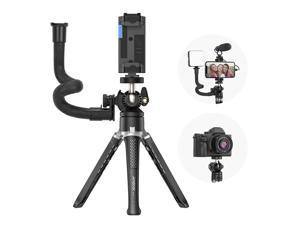 Andoer MT-01 Desktop Tripod Stand 2 Levels Adjustable Height 360° Rotatable Ball Head with Phone Holder Flexible Extension Arm Max. 5kg Load Capacity for Vlog Live Streaming Online Teaching Video