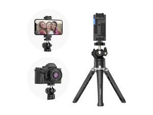 Andoer MT-01 Desktop Tripod Stand 2 Levels Adjustable Height 360° Rotatable Ball Head with Phone Holder Max. 5kg Load Capacity for Vlog Live Streaming Online Teaching Video Conference