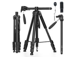 Andoer TTT-010 180CM/70.87Inch Portable Photography Tripod Monopod Camera Horizontal Tripod Stand Aluminum Alloy 360° Rotatable 5kg/11lbs Load Capacity with Phone Clip Remote Shutter Replacement for
