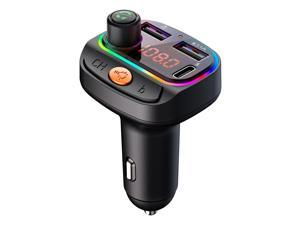 Weback Bluetooth FM Transmitter for Car, BT 5.0 &QC3.0 Wireless Bluetooth FM Audio Adapter Music Player Car Kit with LED Backlit, Hands-Free Calling, 2 USB Ports,Support U Disk,Lossless sound quality