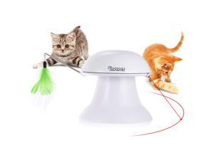 Dadypet Cat Toy 2 in 1 Automatic Rotating Light Interactive Feather Toy Safe Pet Entertainment Exercise with 360° Rotation Design with USB Charging Cable for Cats and Dogs