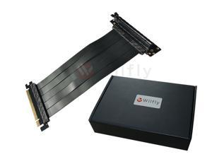 PCIE16EL30 - 300mm PCI-E 3.0 x16 High Quality Flexible EMI Extender Riser Cable - Left Angled, Extended with No Transmission Speed Loss, Mounting Gaming/GPU Support up to 3.0/16GB. OEM/ODM Welcome!