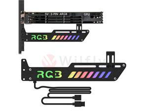 GPUCH01- 5V 3-Pin Colorful RGB Graphics Card GPU Support Video Card Holder Bracket, Video Card Sag Holder/Holster Bracket, Anodized Aluminum, Adjustable Length and Height Support. OEM/ODM Welcome!
