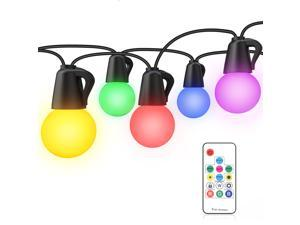 Benature Color Changing LED Outdoor String Lights 48ft RGB Patio Lights with Remote Control Dimmable 25pcs Globe Bulb String Light Hanging for Balcony Pergola Gazebo Backyard Lighting
