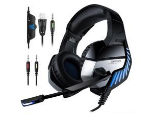 ONIKUMA K5 PRO Gaming Headset with Microphone PC Gamer 3.5mm Stereo Headphones Noise Cancelling Over Ear Ear Cups for PS4 Gamepad New Xbox Laptop Computer