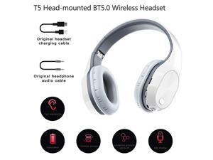 T5 Head-mounted Foldable BT5.0 Wireless Headset Support Card 9D Stereo Sound for Sports Gaming with Microphone (White & Grey)