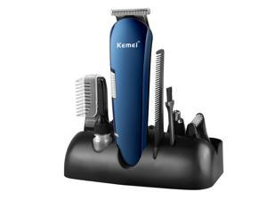 Kemei 14 PCS Men's Grooming Kit Rechargeable Electric Hair Clipper Shaver Nose Trimmer All-in-One Men's Face Styling Personal Care Series with Storage Base for Home Travel Business Trip and