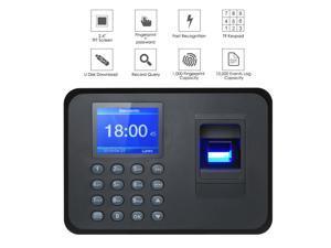 "Biometric Fingerprint Attendance Machine 2.4"" TFT LCD Display USB Fingerprint Attendance System Time Clock Employee Checking-in Recorder"