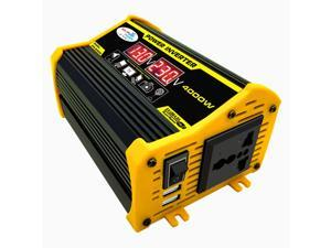 Modified Sine Wave Inverter High Frequency 4000W Peak Power Watt Power Inverter DC 12V to AC 110V Converter Car Power Charger Inverter with 2.1A Dual USB Port Battery Clips Display Screen