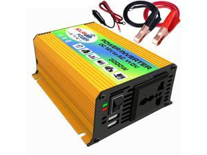 Peaks Power 3000W Modified Sine Wave Inverter High Frequency Power Inverter DC 12V to AC 110V Converter Car Power Charger Inverter with 2.1A Dual USB Port Battery Clips