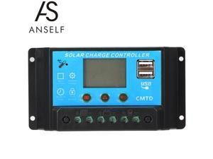 Anself 20A 12V/24V LCD Solar Charge Controller with Current Display Function Auto Regulator for Solar Panel Battery Lamp Overload Protection