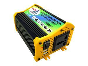 Peaks Power 3000W Modified Sine Wave Inverter High Frequency Power Inverter DC 12V to AC 220V Converter Car Power Charger Inverter with 2.1A Dual USB Port Battery Clips