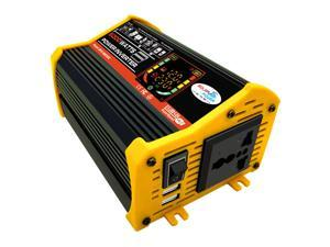 Modified Sine Wave Inverter High Frequency 6000W Peak Power Watt Power Inverter DC 12V to AC 220V Converter Car Power Charger Inverter with 2.1A Dual USB Port Battery Clips Display Screen