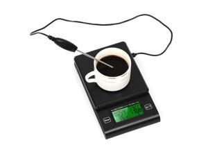 Digital Coffee Scale Multifunction Kitchen Food Scale with Timer Temperature Probe LCD Display Green Backlight 2000g/1g