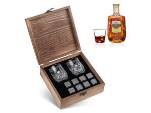 8pcs Whiskey Stones Set Chilling Stones 2 Glasses Wooden Box Chilling Rocks Reusable Ice Cubes for Whiskey Wine Beer Juice Cool Drinks Bar Accessories