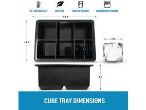 Food Grade Silicone Ice Cube Tray 6 Grids Square Ice Ball Cube Mold Small Ice Maker  for Whiskey, Reusable